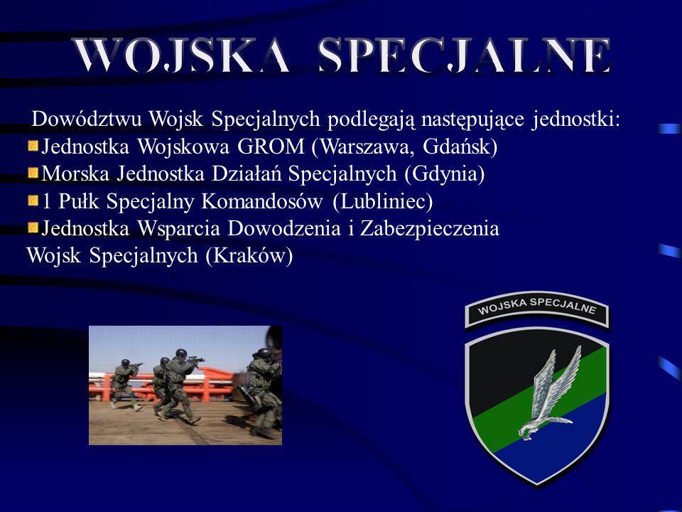 WOJSKA SPECJALNE Dowództwu Wojsk Specjalnych podlegają następujące jednostki: Jednostka Wojskowa GROM (Warszawa, Gdańsk)