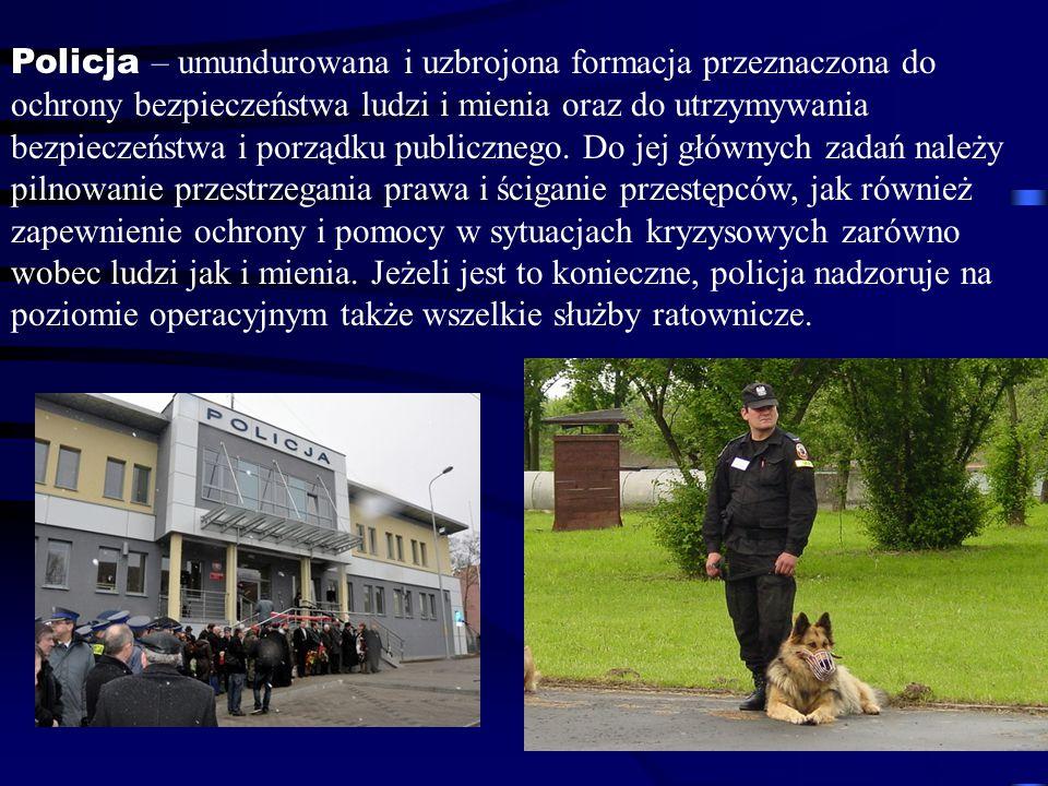 Policja – umundurowana i uzbrojona formacja przeznaczona do ochrony bezpieczeństwa ludzi i mienia oraz do utrzymywania bezpieczeństwa i porządku publicznego.