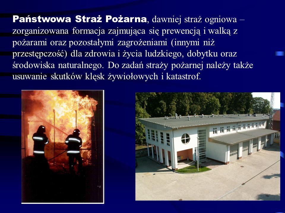Państwowa Straż Pożarna, dawniej straż ogniowa – zorganizowana formacja zajmująca się prewencją i walką z pożarami oraz pozostałymi zagrożeniami (innymi niż przestępczość) dla zdrowia i życia ludzkiego, dobytku oraz środowiska naturalnego.