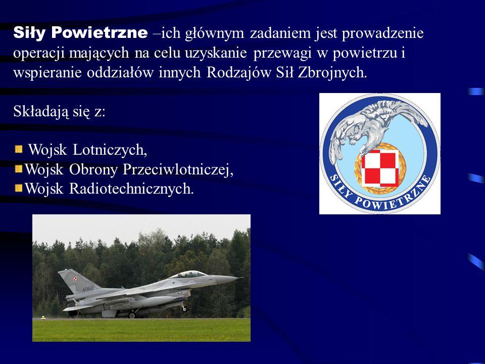 Siły Powietrzne –ich głównym zadaniem jest prowadzenie operacji mających na celu uzyskanie przewagi w powietrzu i wspieranie oddziałów innych Rodzajów Sił Zbrojnych.