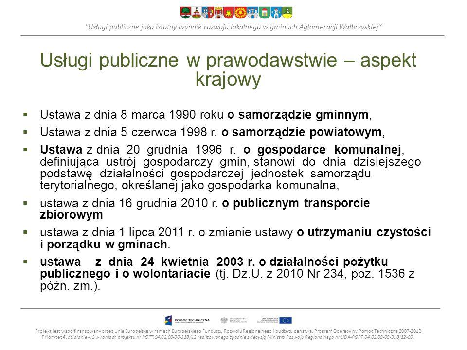 Usługi publiczne w prawodawstwie – aspekt krajowy