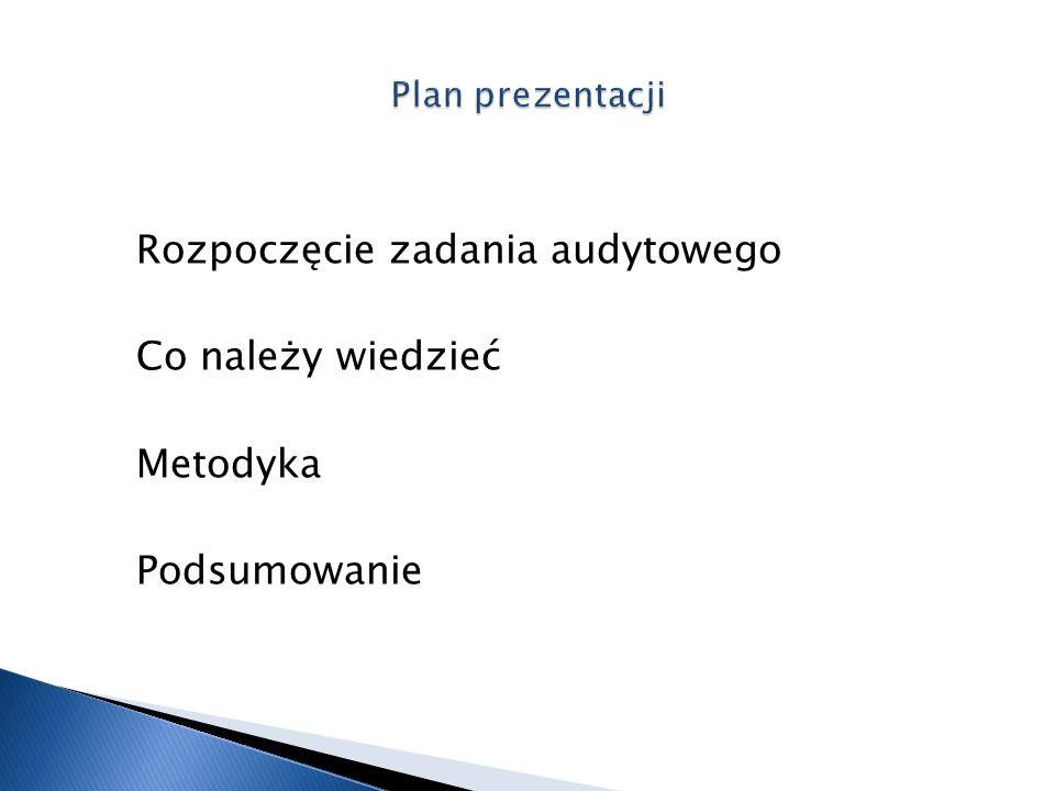Plan prezentacji Rozpoczęcie zadania audytowego Co należy wiedzieć Metodyka Podsumowanie
