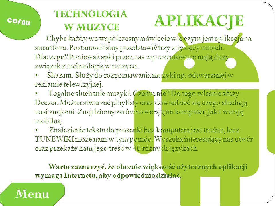 Aplikacje Menu Technologia w Muzyce