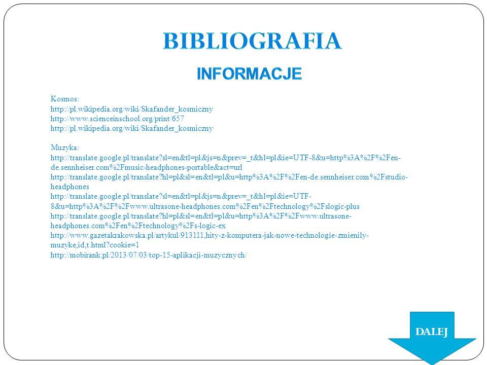 Bibliografia informacje DALEJ Kosmos: