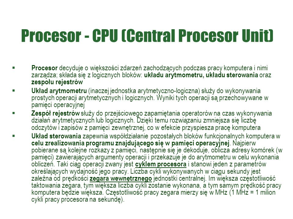 Procesor - CPU (Central Procesor Unit)