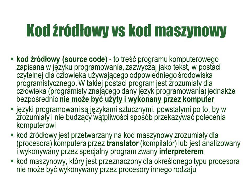 Kod źródłowy vs kod maszynowy