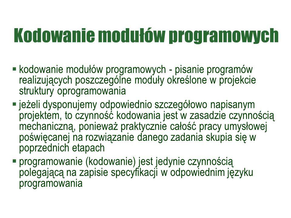 Kodowanie modułów programowych