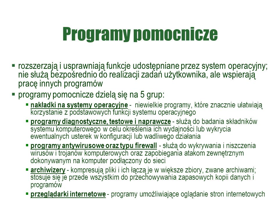 Programy pomocnicze