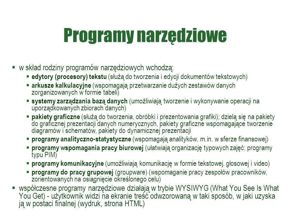 Programy narzędziowe w skład rodziny programów narzędziowych wchodzą: