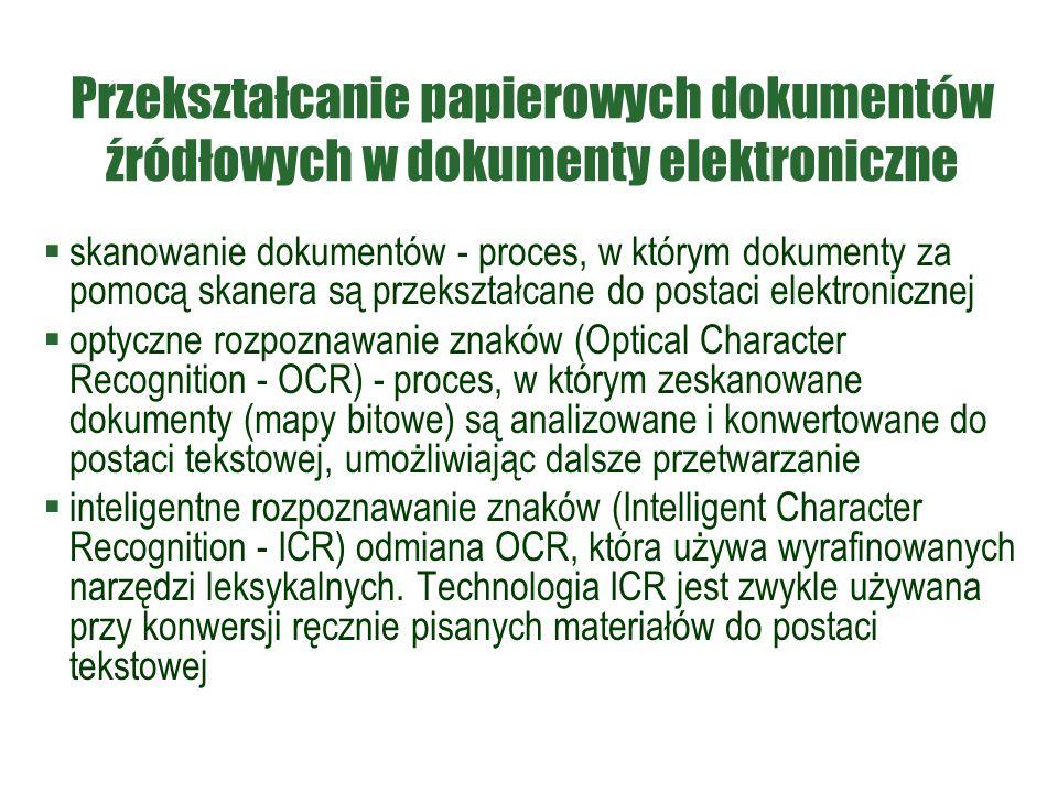 Przekształcanie papierowych dokumentów źródłowych w dokumenty elektroniczne