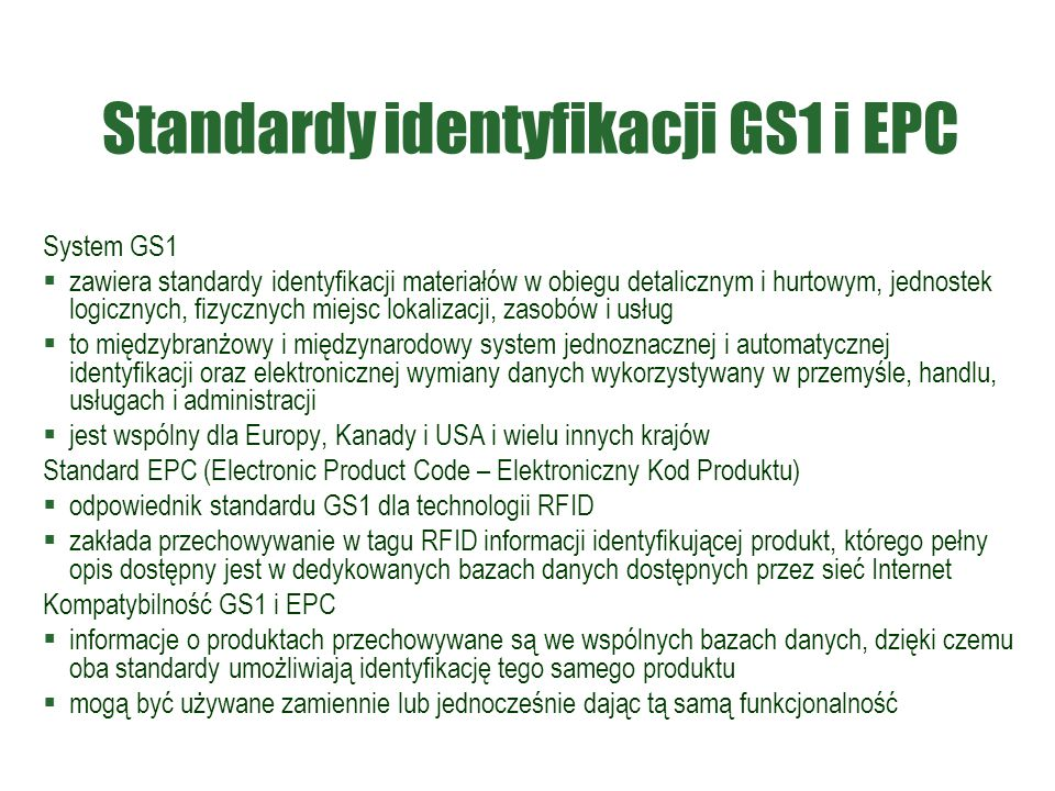 Standardy identyfikacji GS1 i EPC