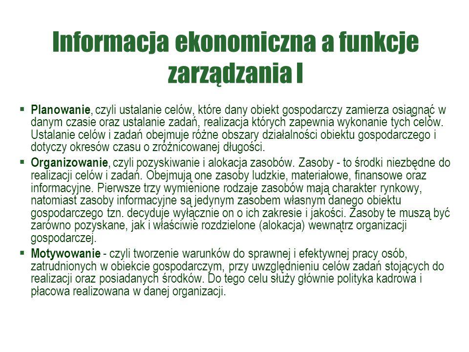 Informacja ekonomiczna a funkcje zarządzania I