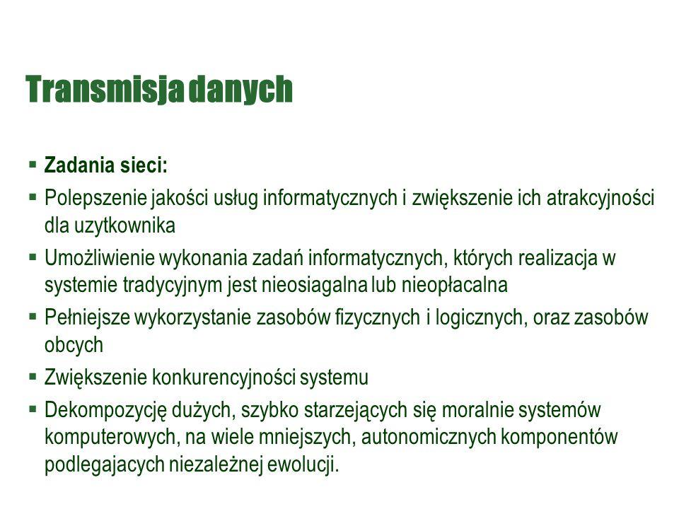 Transmisja danych Zadania sieci: