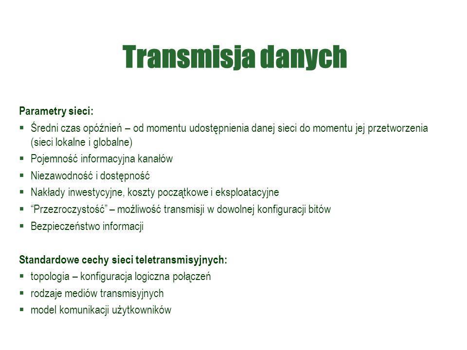 Transmisja danych Parametry sieci: