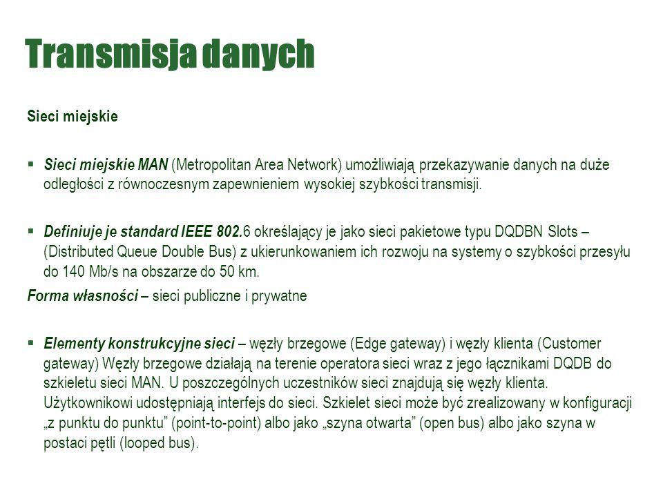 Transmisja danych Sieci miejskie
