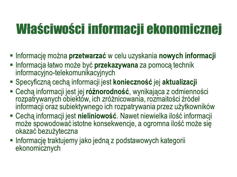 Właściwości informacji ekonomicznej