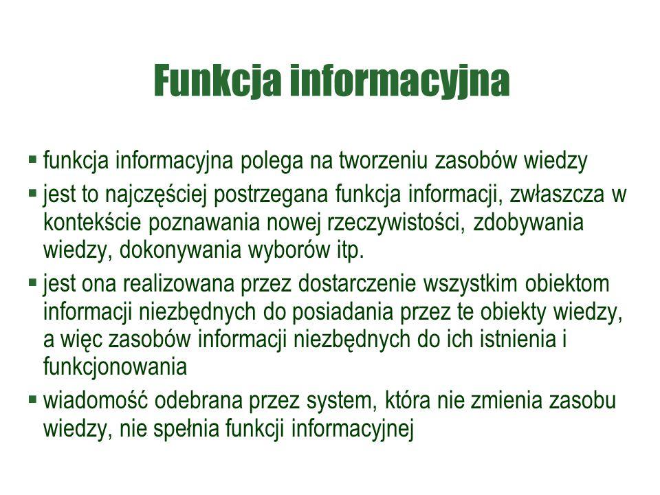 Funkcja informacyjna funkcja informacyjna polega na tworzeniu zasobów wiedzy.