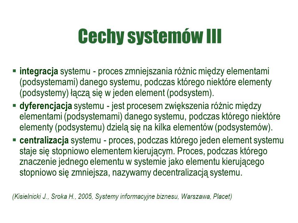 Cechy systemów III