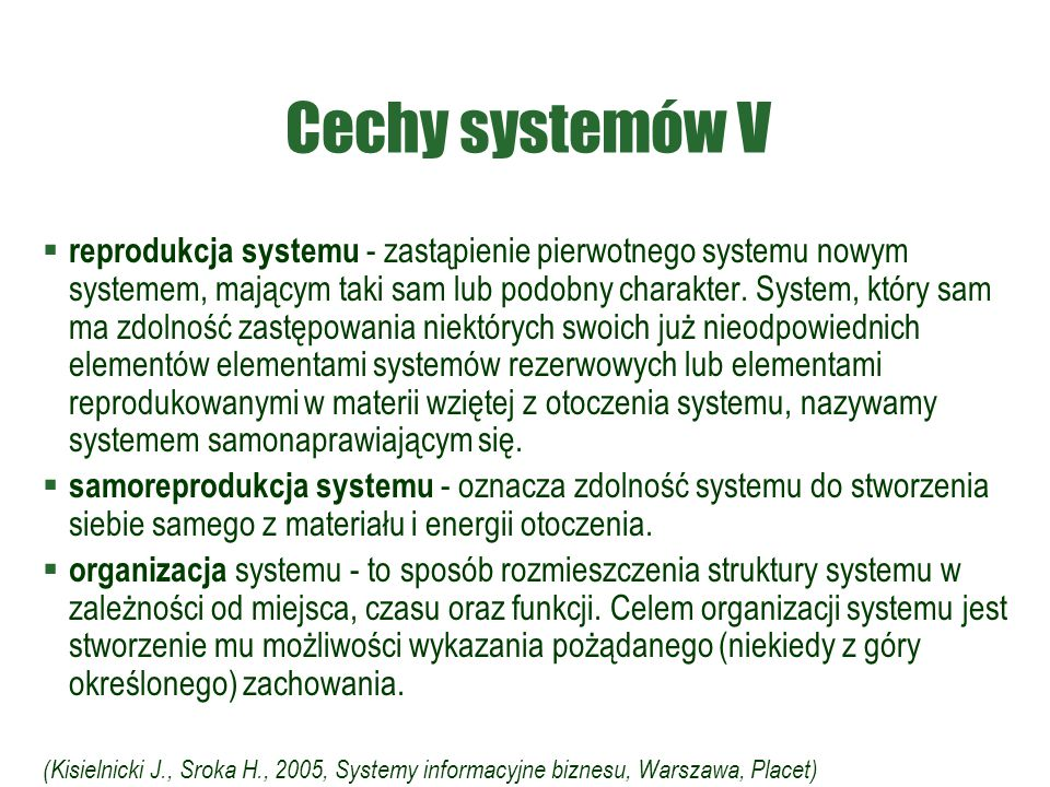 Cechy systemów V