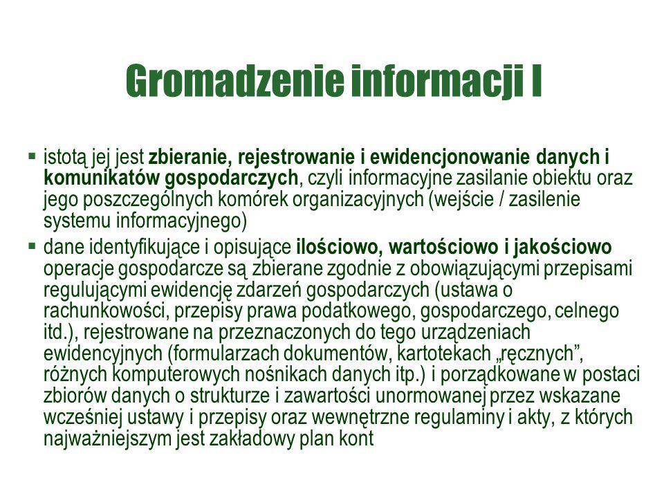 Gromadzenie informacji I