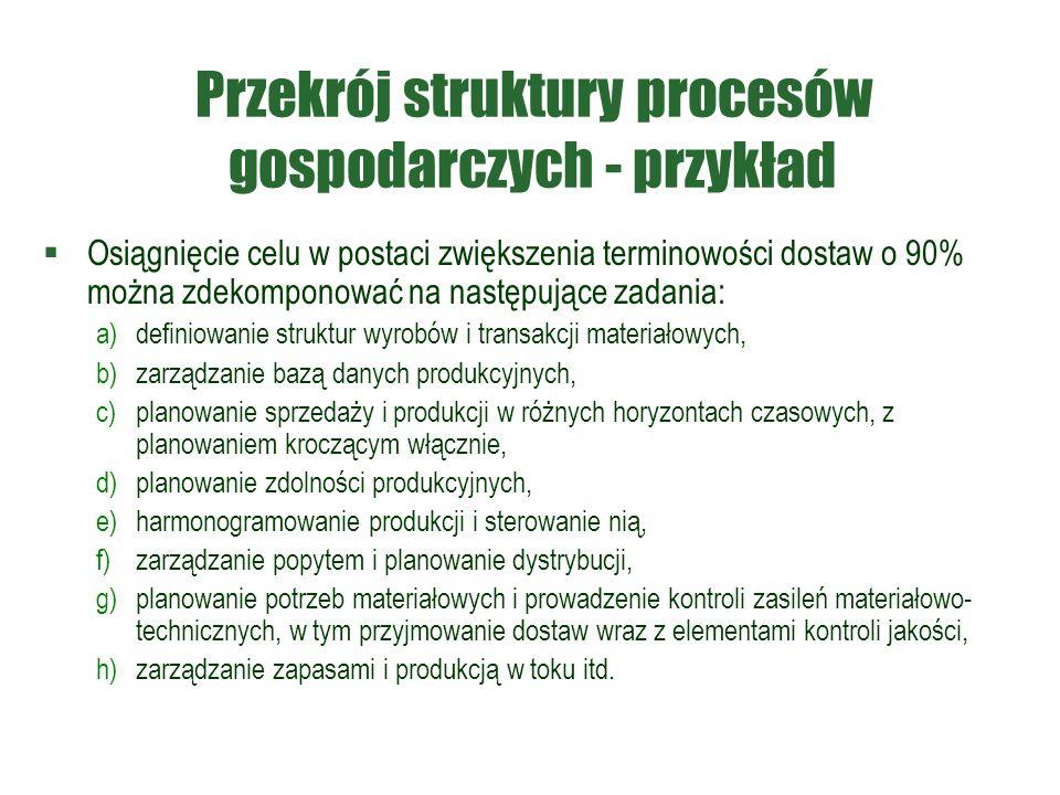 Przekrój struktury procesów gospodarczych - przykład