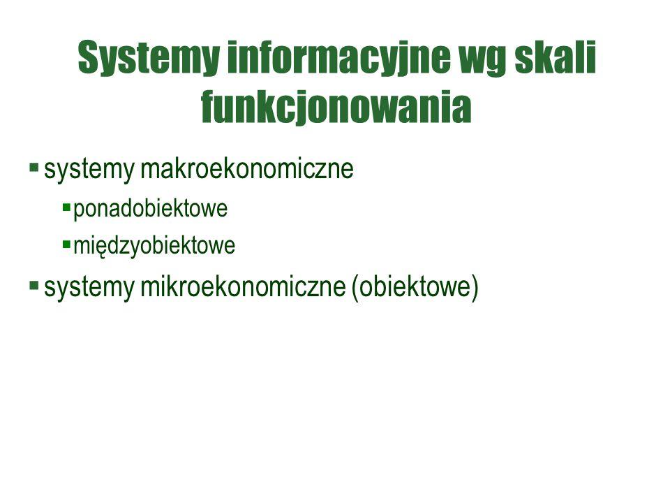 Systemy informacyjne wg skali funkcjonowania