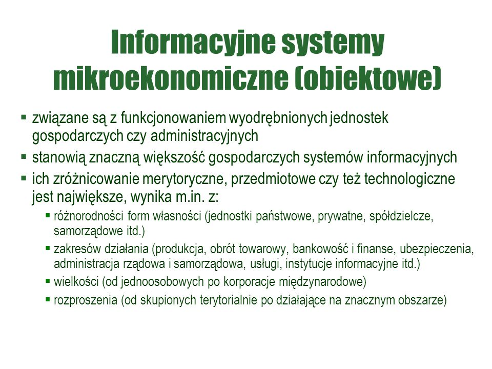 Informacyjne systemy mikroekonomiczne (obiektowe)