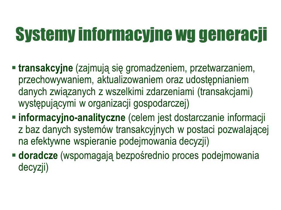 Systemy informacyjne wg generacji
