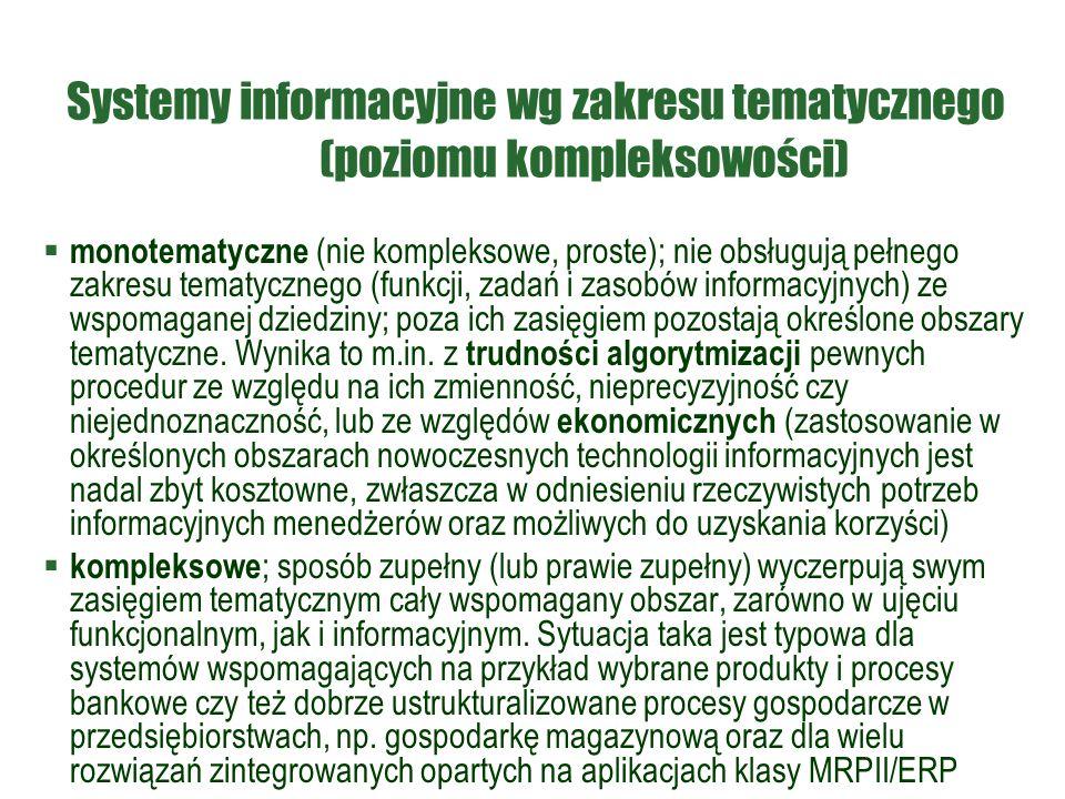 Systemy informacyjne wg zakresu tematycznego (poziomu kompleksowości)
