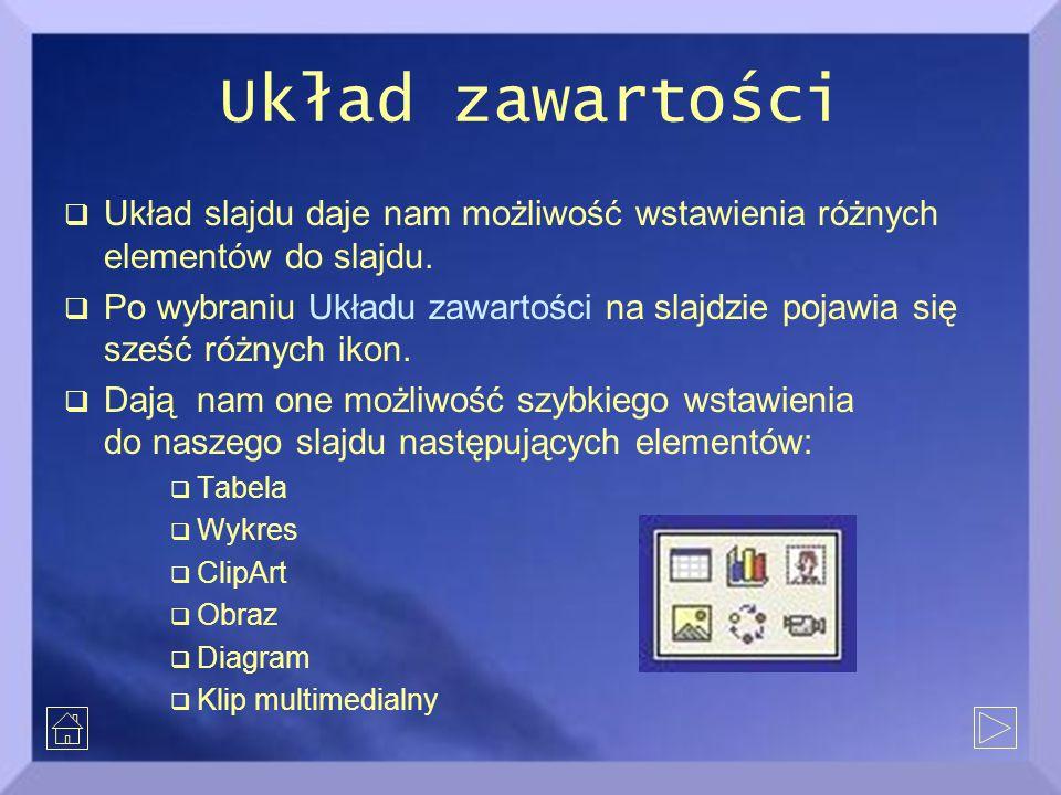 Układ zawartości Układ slajdu daje nam możliwość wstawienia różnych elementów do slajdu.