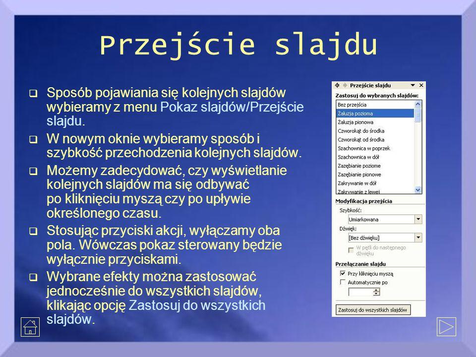 Przejście slajdu Sposób pojawiania się kolejnych slajdów wybieramy z menu Pokaz slajdów/Przejście slajdu.