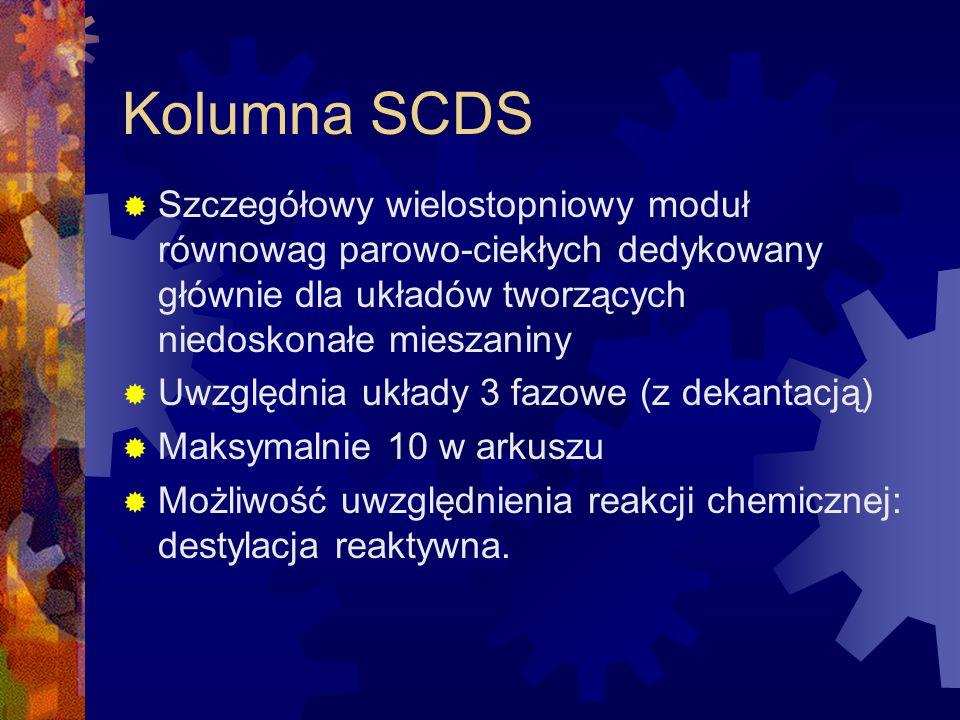 Kolumna SCDS Szczegółowy wielostopniowy moduł równowag parowo-ciekłych dedykowany głównie dla układów tworzących niedoskonałe mieszaniny.