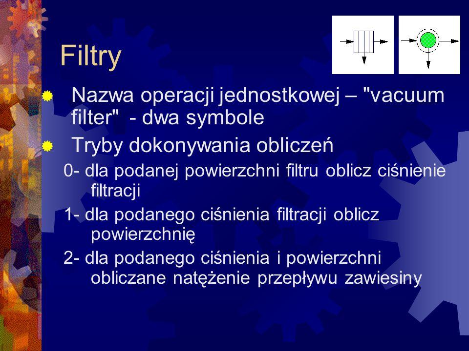 Filtry Nazwa operacji jednostkowej – vacuum filter - dwa symbole