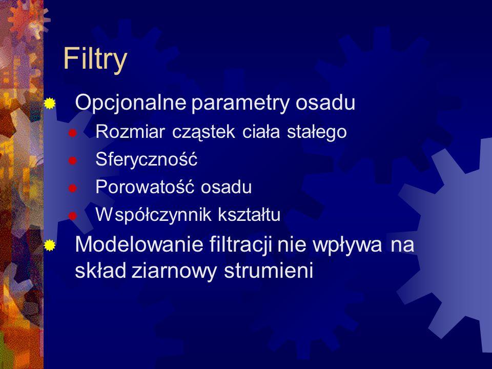 Filtry Opcjonalne parametry osadu