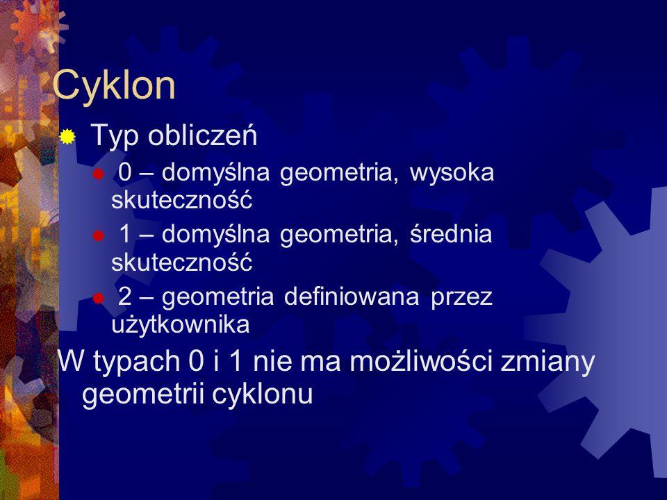 Cyklon Typ obliczeń. 0 – domyślna geometria, wysoka skuteczność. 1 – domyślna geometria, średnia skuteczność.