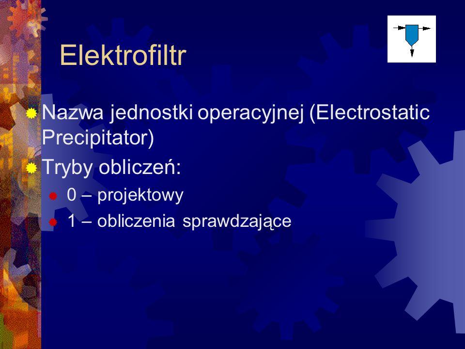 Elektrofiltr Nazwa jednostki operacyjnej (Electrostatic Precipitator)