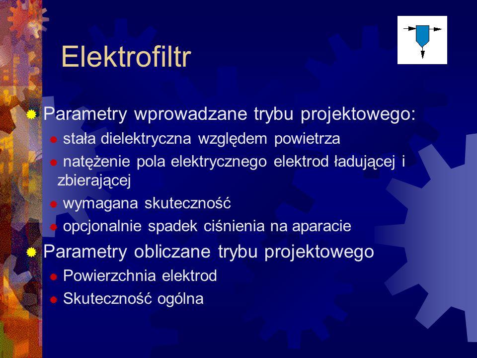 Elektrofiltr Parametry wprowadzane trybu projektowego: