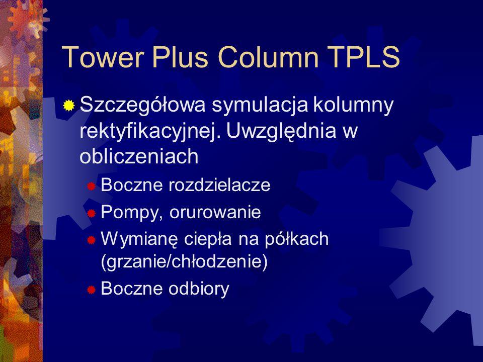 Tower Plus Column TPLS Szczegółowa symulacja kolumny rektyfikacyjnej. Uwzględnia w obliczeniach. Boczne rozdzielacze.