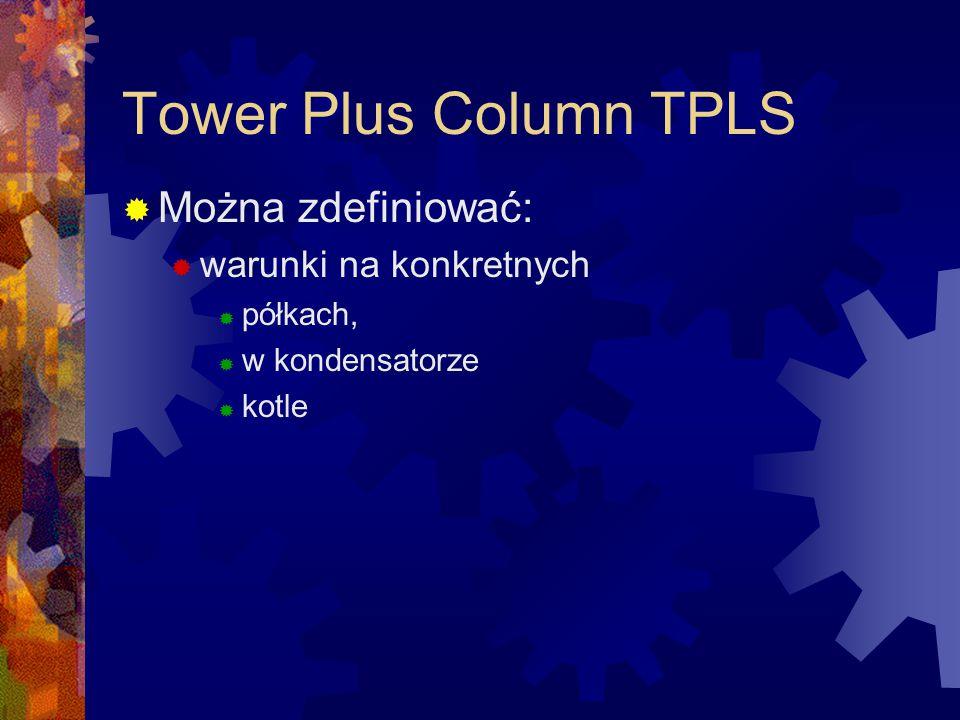 Tower Plus Column TPLS Można zdefiniować: warunki na konkretnych