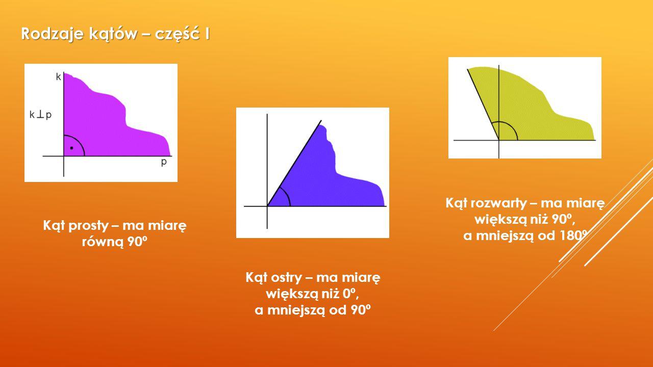 Rodzaje kątów – część I Kąt rozwarty – ma miarę większą niż 90º,