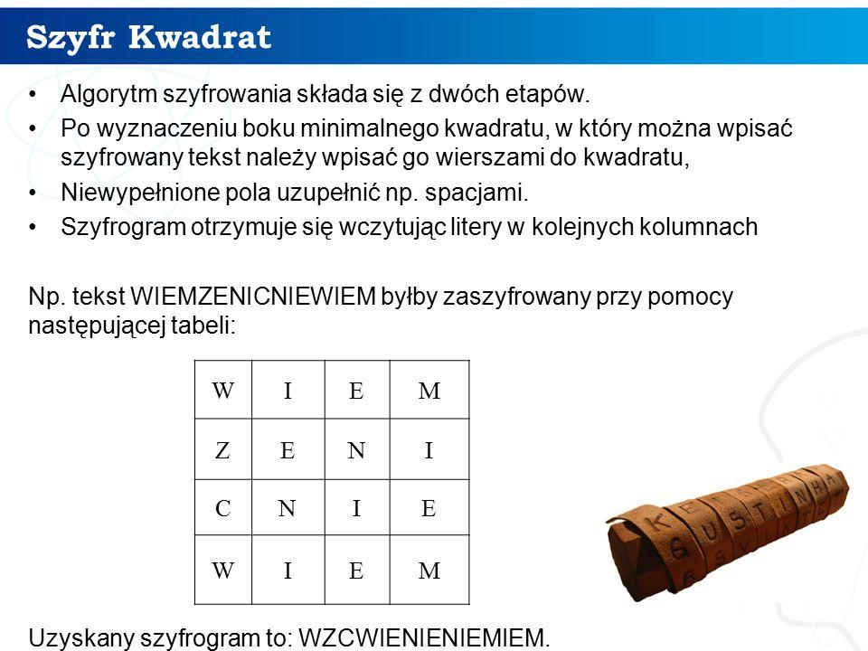 Szyfr Kwadrat Algorytm szyfrowania składa się z dwóch etapów.