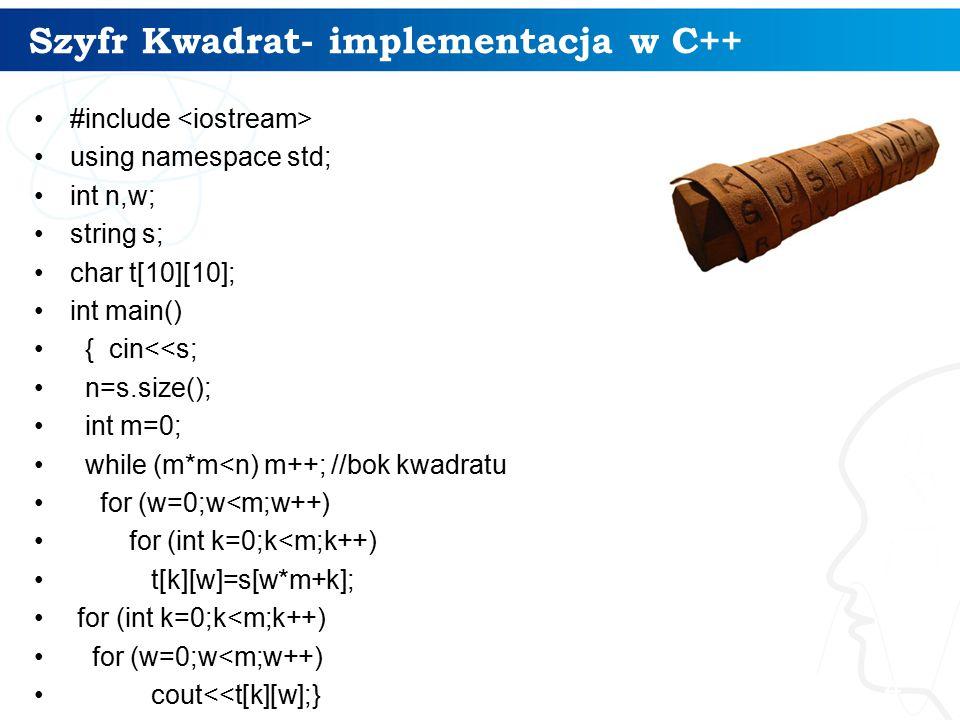 Szyfr Kwadrat- implementacja w C++