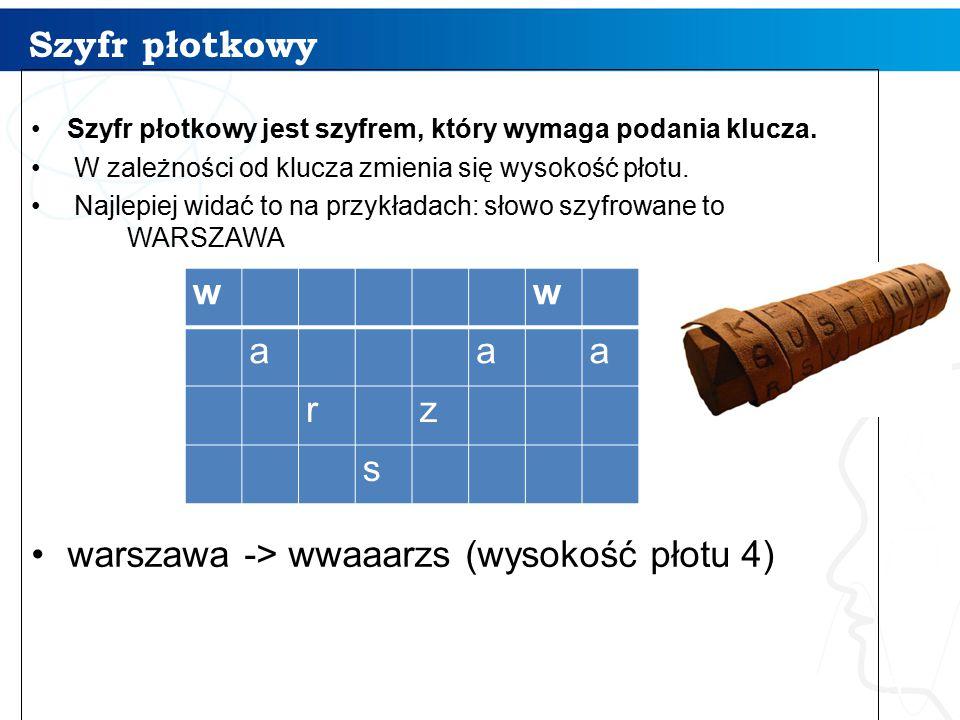 warszawa -> wwaaarzs (wysokość płotu 4) w a r z s