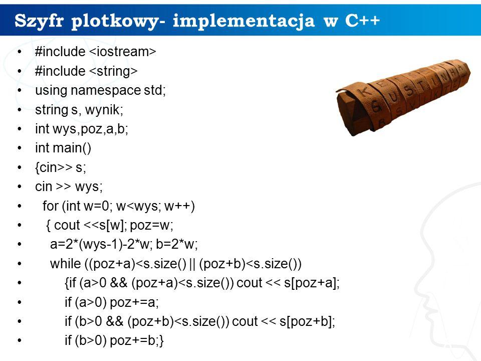 Szyfr plotkowy- implementacja w C++