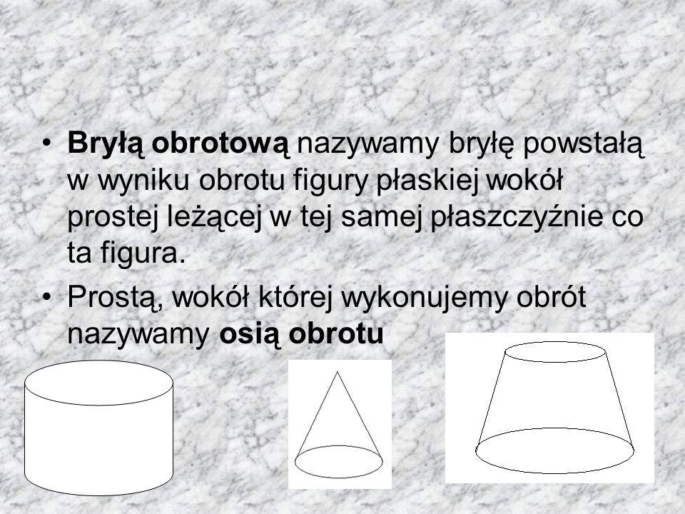 Bryłą obrotową nazywamy bryłę powstałą w wyniku obrotu figury płaskiej wokół prostej leżącej w tej samej płaszczyźnie co ta figura.