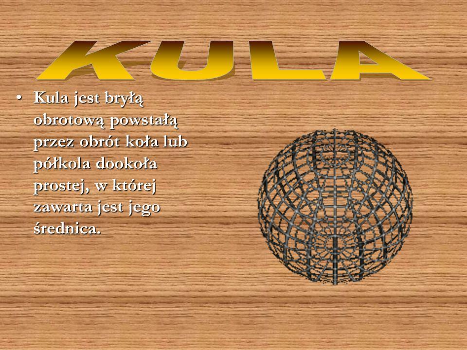 KULA Kula jest bryłą obrotową powstałą przez obrót koła lub półkola dookoła prostej, w której zawarta jest jego średnica.