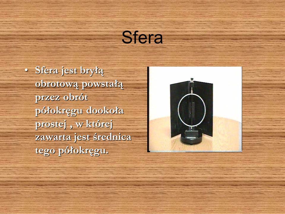 Sfera Sfera jest bryłą obrotową powstałą przez obrót półokręgu dookoła prostej , w której zawarta jest średnica tego półokręgu.