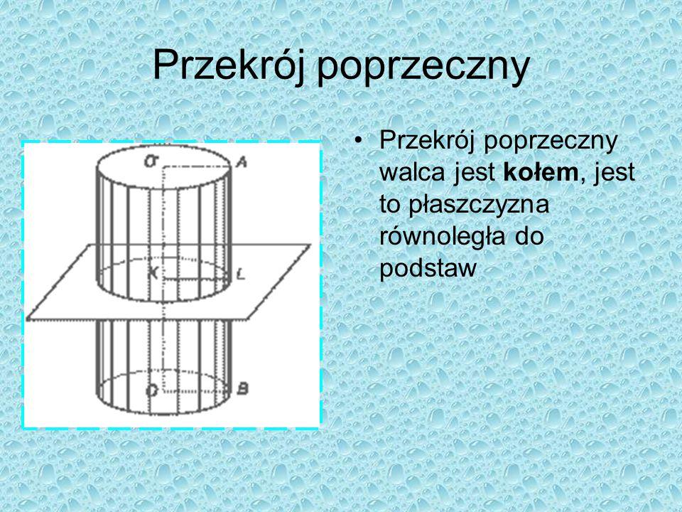 Przekrój poprzeczny Przekrój poprzeczny walca jest kołem, jest to płaszczyzna równoległa do podstaw