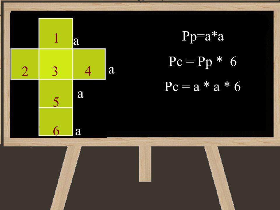 Pp=a*a Pc = Pp * 6 Pc = a * a * 6 1 a a 2 3 4 a 5 6 a
