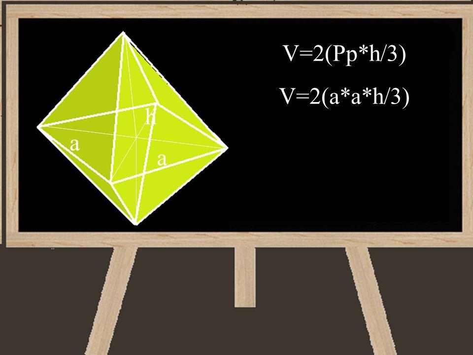 V=2(Pp*h/3) V=2(a*a*h/3) h a a